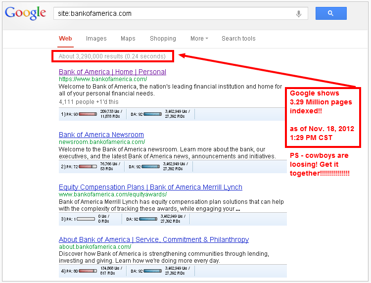 bank of america # of pages indexed in google