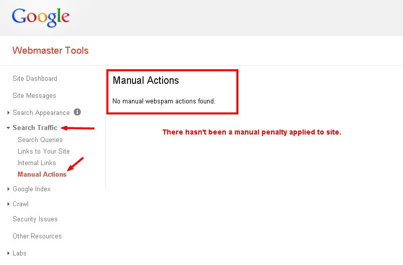 Webmaster Tools   Manual Actions